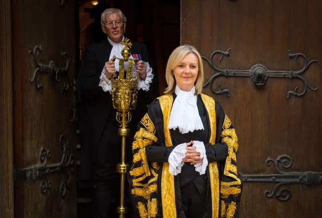 Liz Truss shortly before her swearing in as Lord Chancellor at the Royal Courts of Justice, in London (Dominic Lipinski/PA)