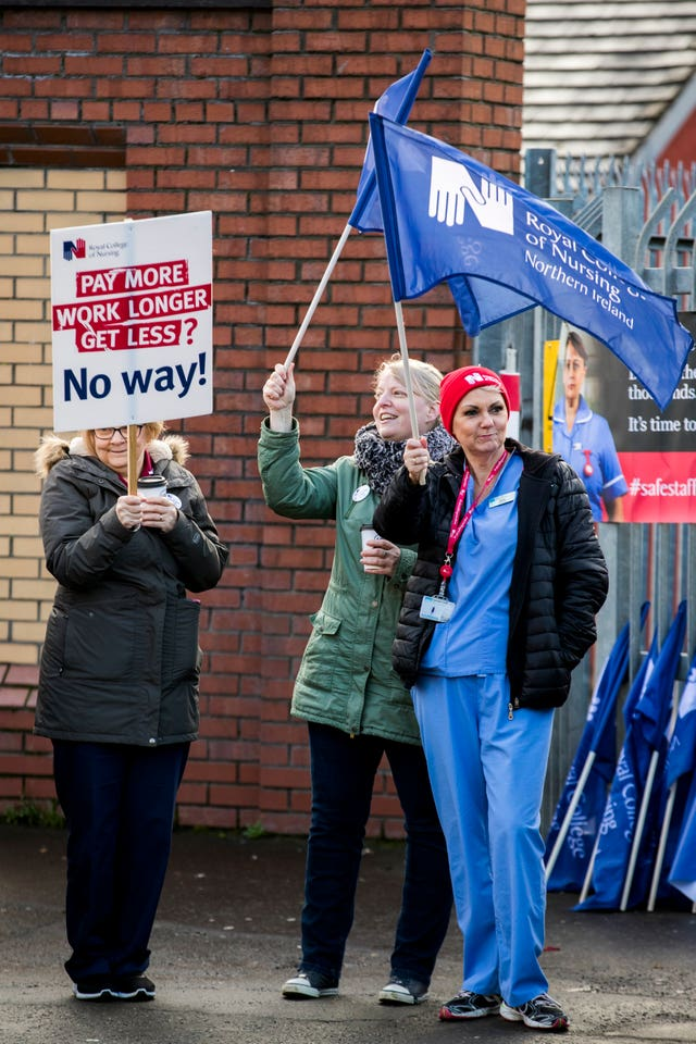Nurses and supporters on the picket line at Belfast's Royal Victoria Hospital