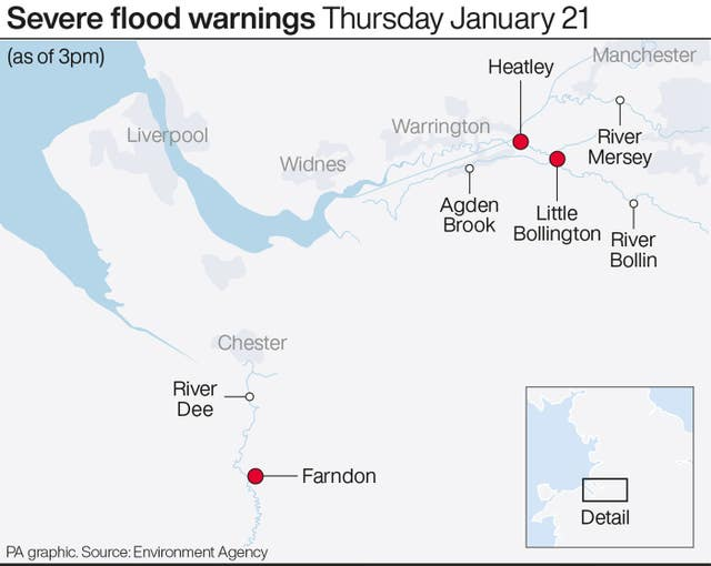 Severe flood warnings Thursday January 21
