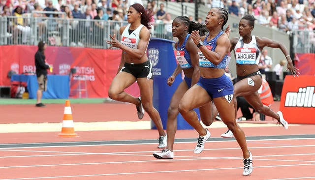 Jamaica's Shelly-Ann Fraser-Pryce (second right) won the Women's 100m final ahead of Great Britain's Dina Asher-Smith (centre) at the Anniversary Games in London