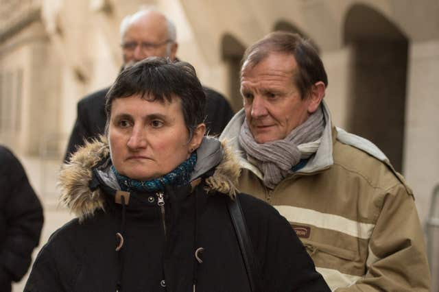 Sophie Lionnet's mother Catherine Devallonne and father Patrick Lionnet outside the Old Bailey (Dominic Lipinski/PA)