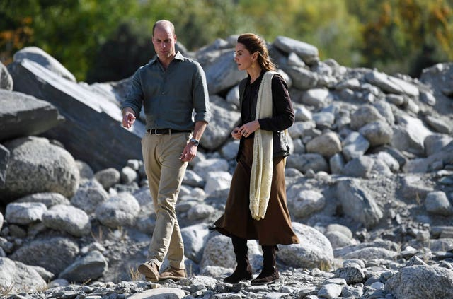 William and Kate walked among ruins damaged by the flood (Neil Hall/PA Wire)