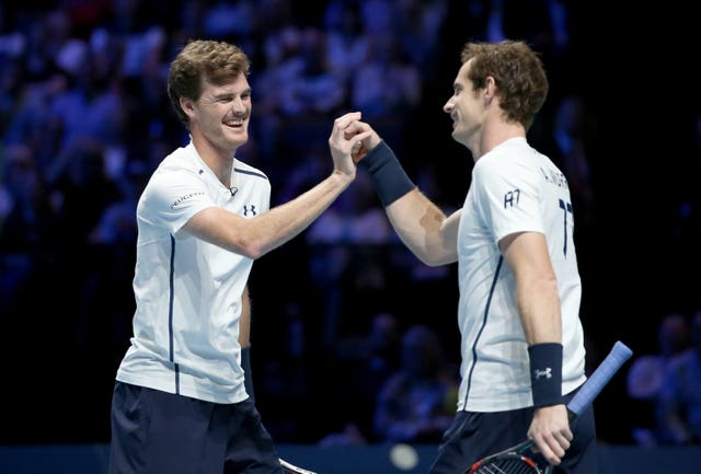 Andy and Jamie Murray during an exhibition doubles match (Jane Barlow/PA)