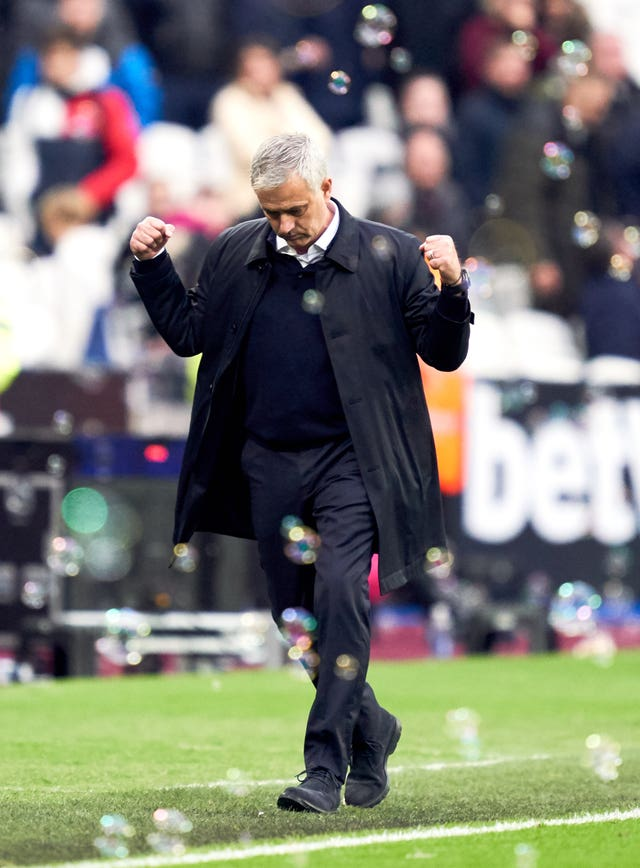 Jose Mourinho clenches his fists in delight after returning to the Premier League with victory at West Ham. Former Chelsea and Manchester United boss Mourinho, who left Old Trafford in December 2018, replaced Mauricio Pochettino as Tottenham manager in November and enjoyed a 3-2 London derby win against the Hammers on debut