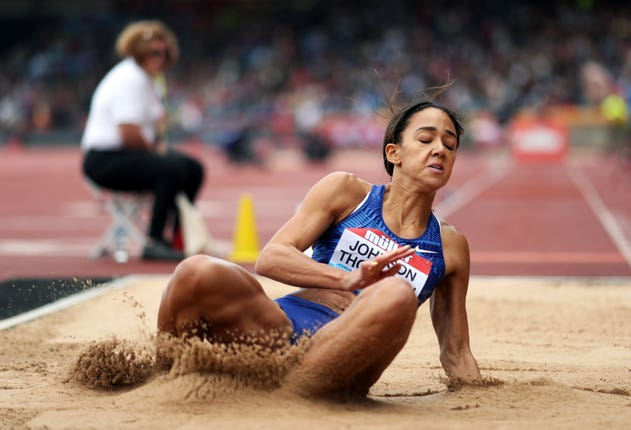 Katarina Johnson-Thompson finished just one centimetre behind winner Nafi Thiam in the long jump