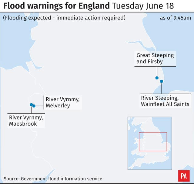 Flood warnings for England Tuesday June 18