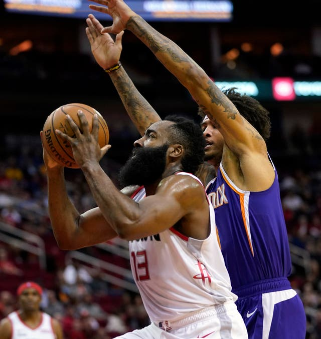 Houston's James Harden scored 34 points as the Rockets beat the Phoenix Suns 115-109 in the NBA