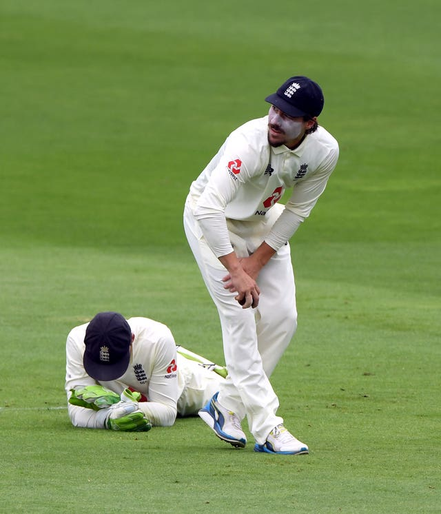 Rory Burns reacts after dropping Abid Ali in the slips