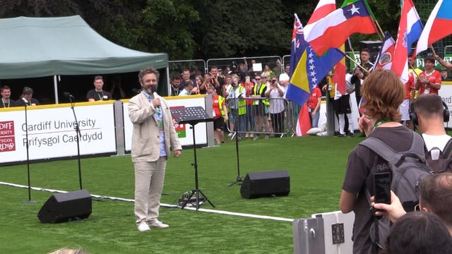 ÔI know that this worksÕ: Michael Sheen opens Homeless World Cup in Cardiff