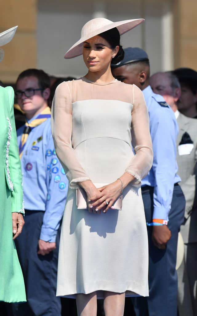 The Duchess of Sussex wore a hat by Philip Treacy (Dominic Lipinski/PA)