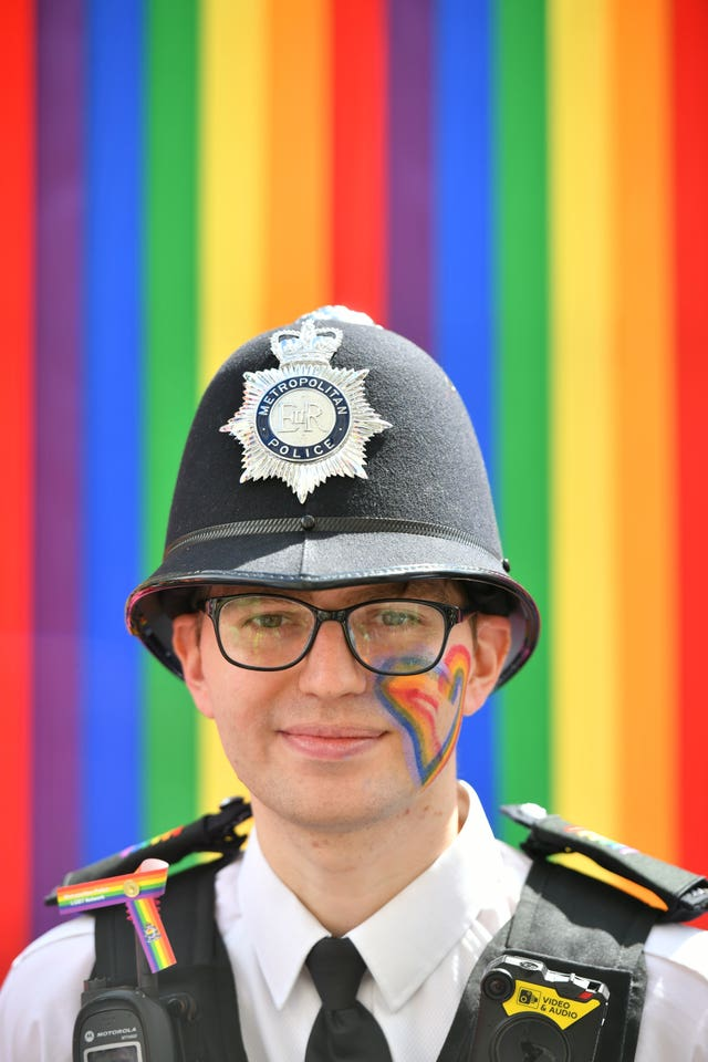 A police officer ahead of the Pride in London Parade