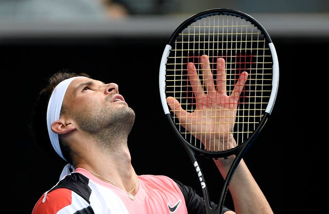 Grigor Dimitrov looks to the sky during his five-set loss to Tommy Paul