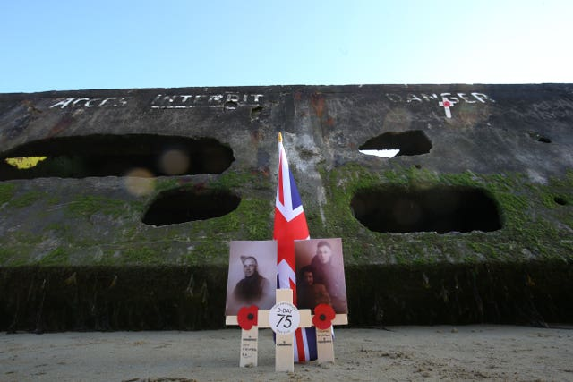 A memorial placed by the Mulberry harbour at Arromanches