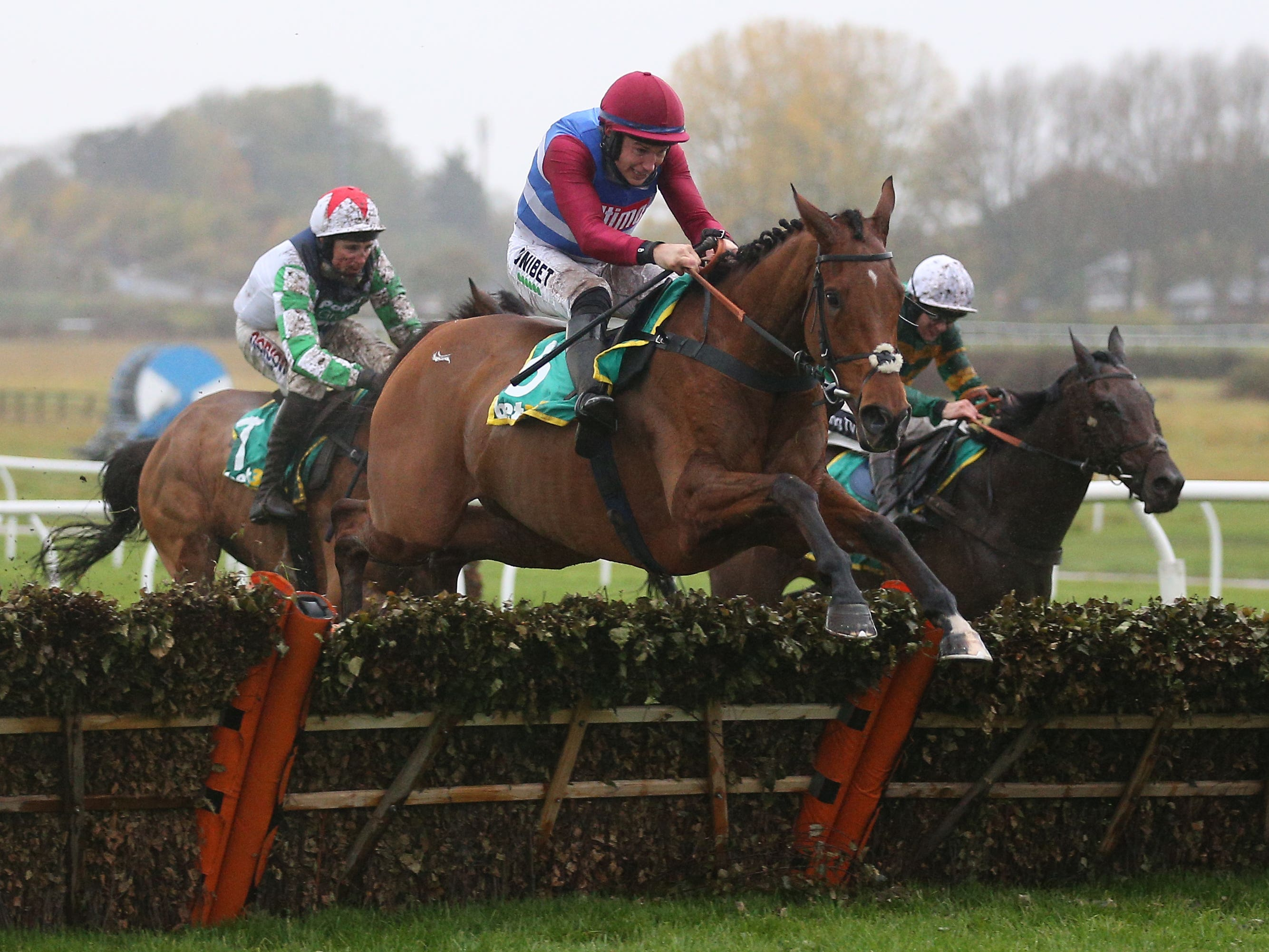 The Worlds End on his way to victory in the bet365 Hurdle at Wetherby (Nigel French/PA)