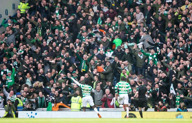 Odsonne Edouard celebrates in front of the Celtic fans at Ibrox
