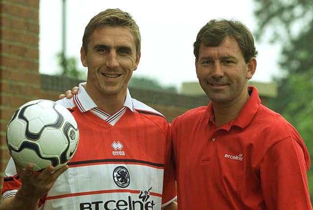 Alex Boksic, left, played under Bryan Robson at Middlesbrough (Owen Humphreys/PA)