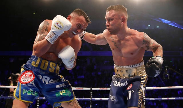 Carl Frampton suffered his second professional defeat against Josh Warrington (Martin Rickett/PA Wire)