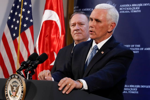 US vice president Mike Pence and secretary of state Mike Pompeo hold a news conference in Ankara, Turkey