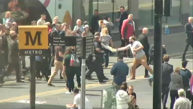 CCTV showing Paul Crowther throwing milkshake at Nigel Farage