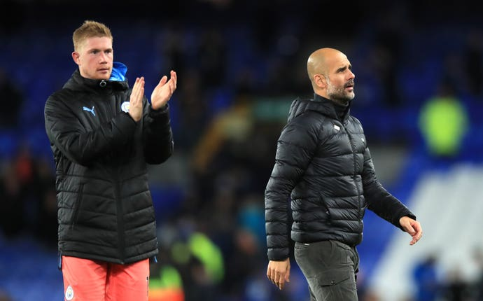Kevin De Bruyne, left, is a doubt for the Champions League clash