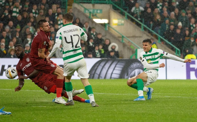 Mohamed Elyounoussi scored Celtic's second goal in the win over Cluj