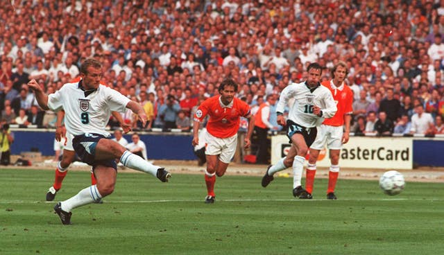 Alan Shearer's penalty gave England the lead as they thrashed Holland 4-1 in the group stage of Euro 96.