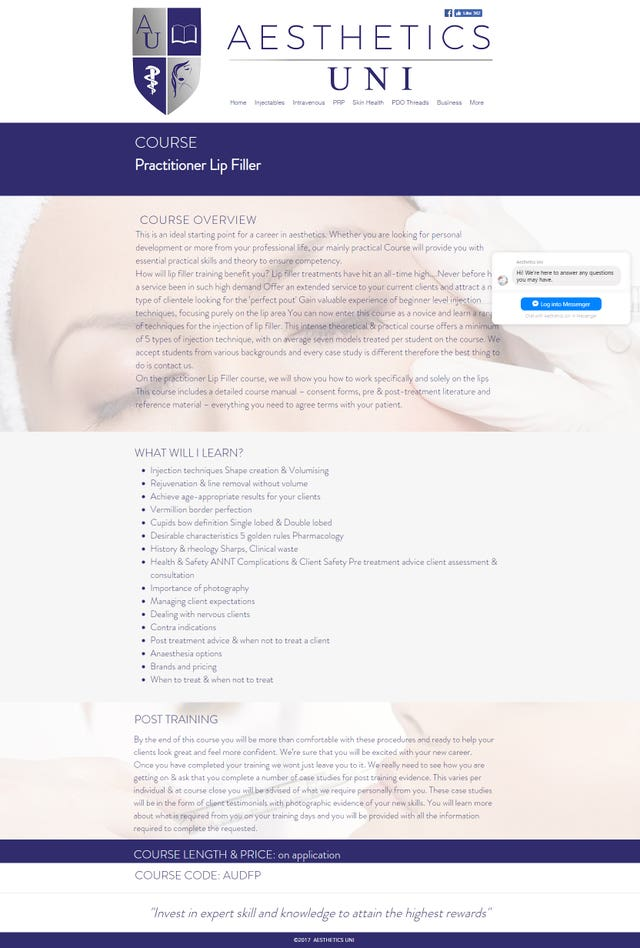 An ad from Aesthetics Uni advertising a practitioner lip filler course