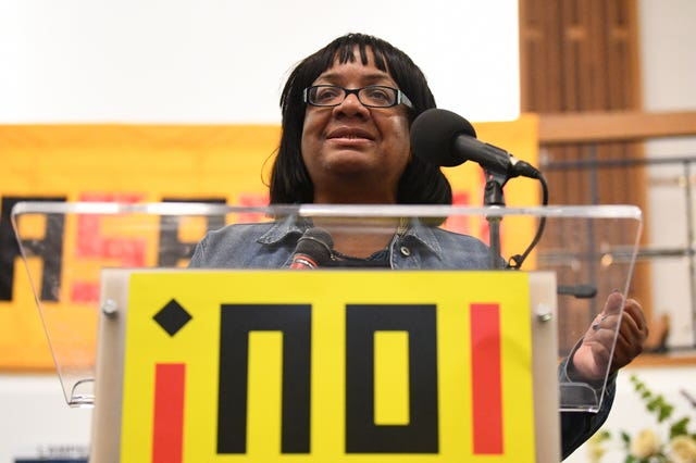Shadow home secretary Diane Abbott speaking during a No Pasaran conference
