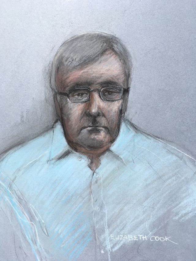 Court artist sketch of John Worboys