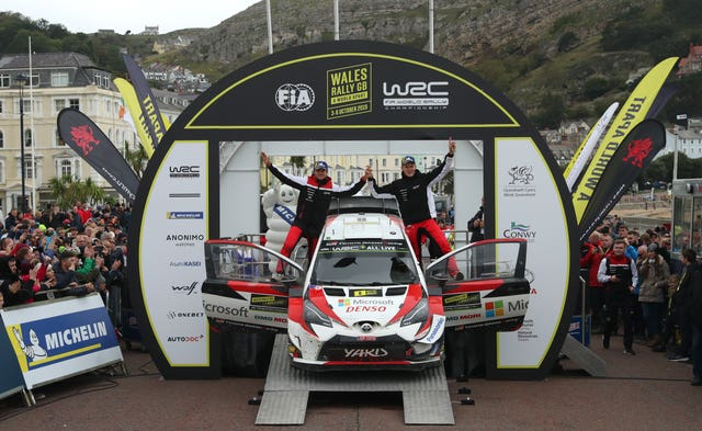 Ott Tanak, right, and Martin Jarveoja celebrated victory in the the Wales Rally GB.