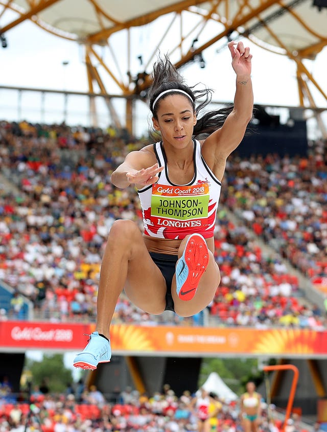 England's Katarina Johnson-Thompson competes in the women's heptathlon long jump at the Carrara Stadium