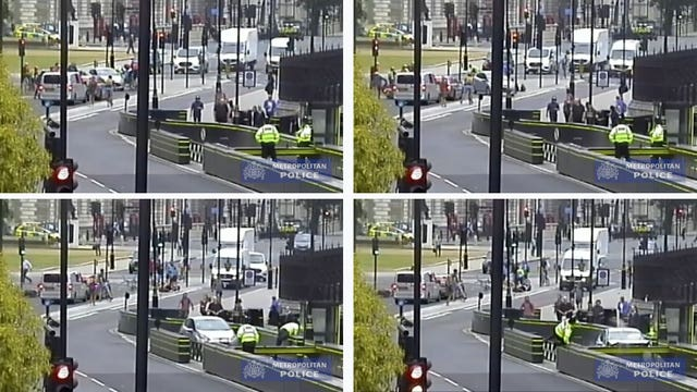 Footage taken from CCTV of the moment Salih Khater, 30, drove his silver Ford Fiesta at cyclists before crashing into barriers as two uniformed police officers