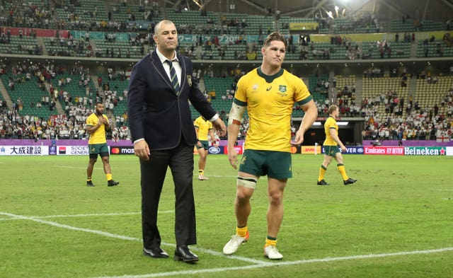 Dejected Michael Cheika and Michael Hooper at the final whistle of the quarter-final defeat to England