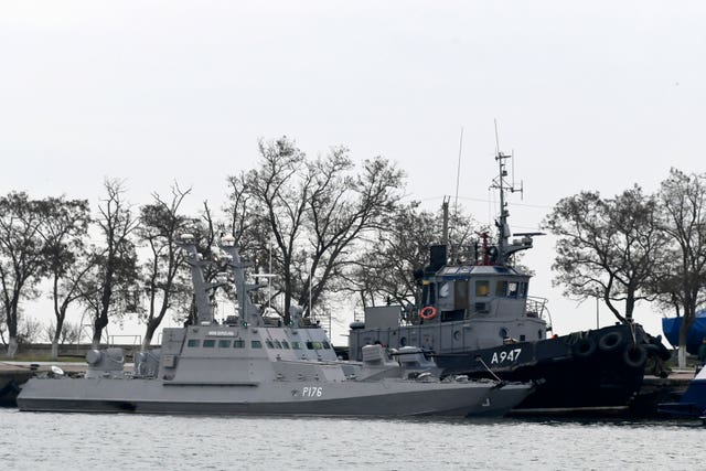 Three Ukrainian ships are seen as they docked near the Kerch after being seized on Sunday