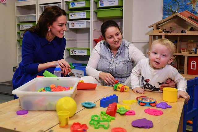 Kate meets families during a visit to an Early Years Parenting Unit in north London run by the Anna Freud National Centre. Ben Stansall/PA Wire