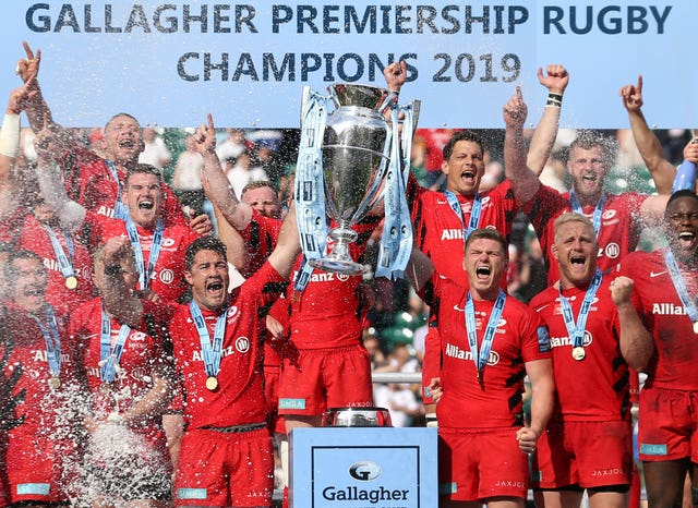 Saracens celebrate victory in last season's Gallagher Premiership final
