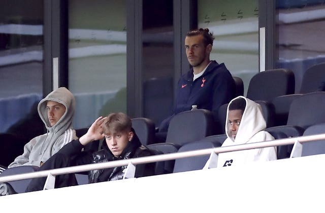 Tottenham's new signing Gareth Bale watched the match from the stands