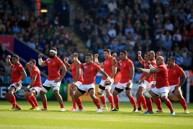 Tonga's performed their war dance before the 28-12 defeat to Argentina