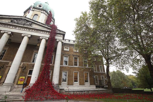 The poppy sculpture Weeping Window at the Imperial War Museum