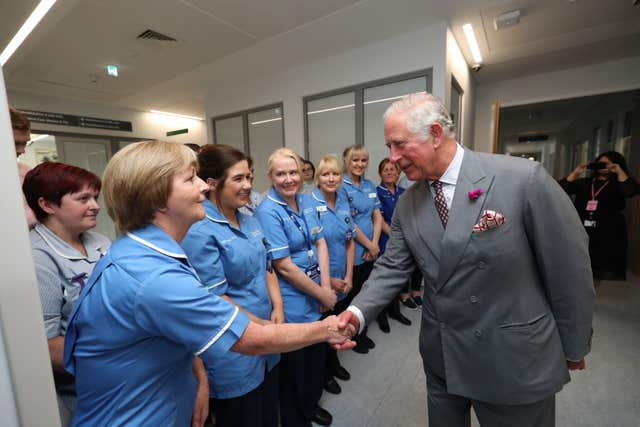 Charles met hospital nurses who treated dozens of victims in the Real IRA Omagh car bomb blast in August 1998 (Niall Carson/PA)
