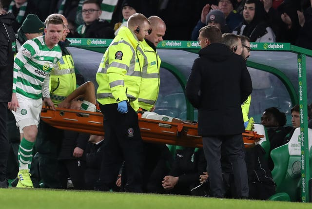 Emilio Izaguirre was carried off after Darnell Johnson's tackle