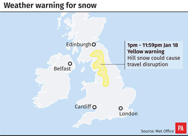 Weather warning for snow