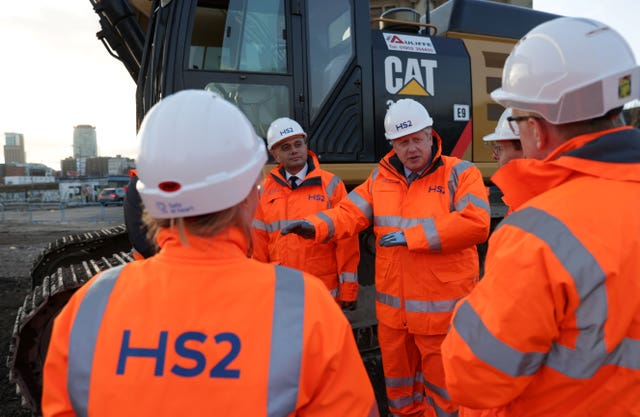 Boris Johnson in a previous visit to HS2 construction in Birmingham