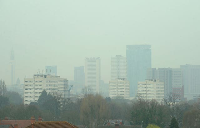 Air pollution above Birmingham