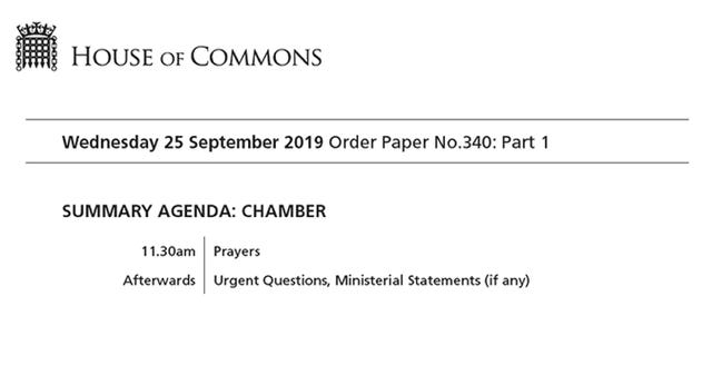 Order paper for the House of Commons