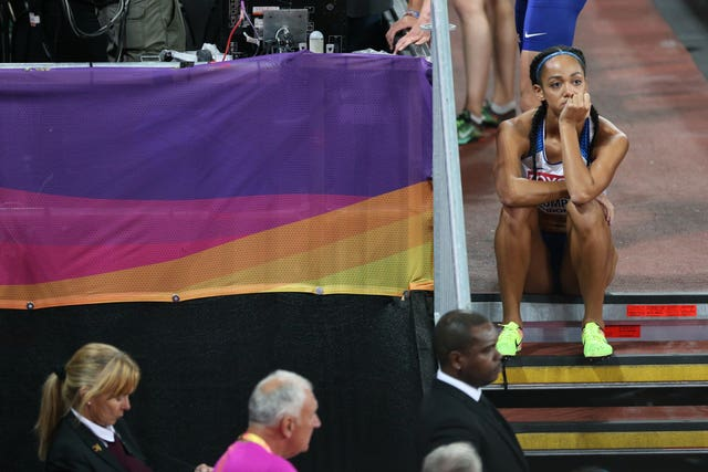 Katarina Johnson-Thompson shows her dejection while waiting for media interviews at the 2017 World Championships