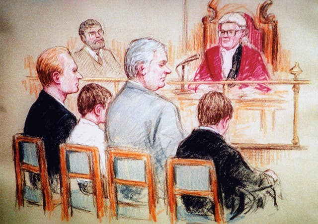 An artist's impression of Venables and Thompson's trial at Preston Crown Court in 1993 (PA)