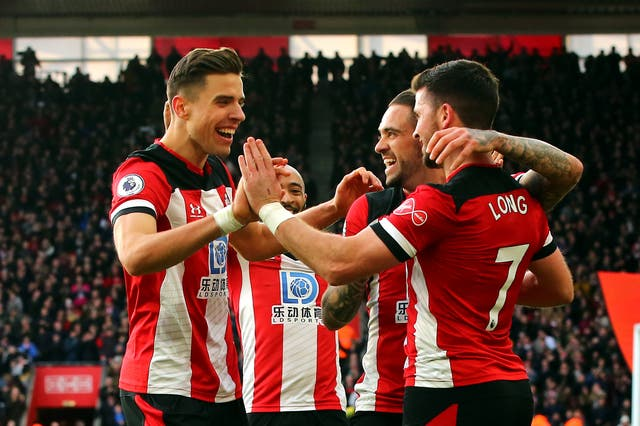 Shane Long celebrates scoring Southampton's second goal
