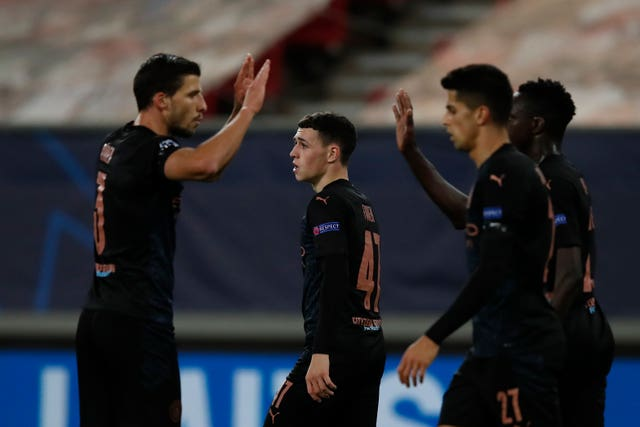 Foden (centre) scored City's only goal in Greece on Wednesday