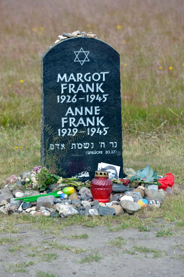 Gravestone of Anne Frank and her sister Margot at the Bergen-Belsen concentration camp